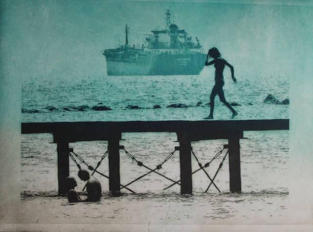 Walking The Pier Blue 22.5cm x 29.5cm